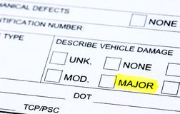 Collision Report. The damage section of a police report Royalty Free Stock Image