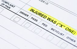 Collision Report. The injured section on a traffic collision report stock images