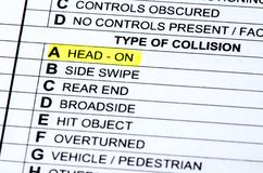Collision Report. The section of the accident report that describes what kind of collision occurred stock photography