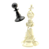 Collision of two black and white chess figures Stock Images