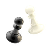 Collision of two black and white pawns Royalty Free Stock Photos