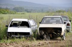 Collision of two cars on a rural country road. Collision of two cars on a rural country road stock images