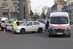 Collision of two cars in Victory Square in Kiev, Ukraine, July 3, 2017 Royalty Free Stock Images