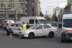 Collision of two cars in Victory Square in Kiev, Ukraine, July 3, 2017 Royalty Free Stock Photos