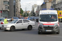 Collision of two cars in Victory Square in Kiev, Ukraine, July 3, 2017 Stock Photo
