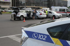 Collision of two cars in Victory Square in Kiev, Ukraine, July 3, 2017. Royalty Free Stock Photo
