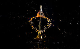 Collision of two drops of water. Images forming two drops of water when colliding after falling in water Stock Photo