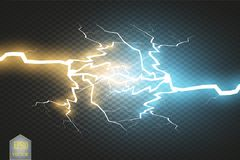Collision of two forces with gold and blue light. Vector illustration. Hot and cold sparkling power. Energy lightning Royalty Free Stock Images