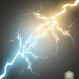 Collision of two forces with gold and blue light. Vector illustration. Hot and cold sparkling power. Energy lightning. With electric discharge on transparent stock illustration