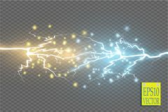 Collision of two forces with gold and blue light. Vector illustration. Hot and cold sparkling power. Energy lightning Stock Images