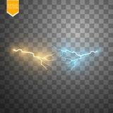 Collision of two forces with gold and blue light. Vector illustration. Hot and cold sparkling power. Energy lightning Royalty Free Stock Image