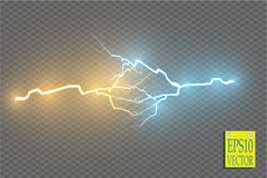 Collision of two forces with gold and blue light. Vector illustration. Hot and cold sparkling power. Energy lightning Stock Photography