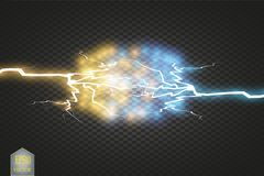 Collision of two forces with gold and blue light. Vector illustration. Hot and cold sparkling power. Energy lightning Stock Image