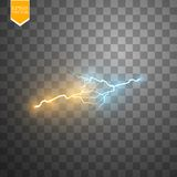 Collision of two forces with gold and blue light. Vector illustration. Hot and cold sparkling power. Energy lightning Royalty Free Stock Photos
