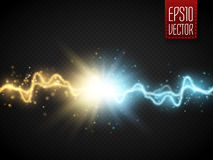 Collision of two forces with gold and blue light. Vector. Illustration. Hot and cold sparkling power. Energy lightning with explosion and many shine particles stock illustration