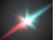 Collision of two forces with red and blue light. Vector. Explosion concept. Stock Photo