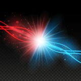 Collision of two forces with red and blue lights. Explosion concept. Isolated on black transparent background. Vector illustration. Eps 10 vector illustration