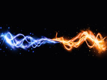Collision of two forces with yellow and blue lights. Vector light effect. Realistic lightnings. EPS10 Stock Photo