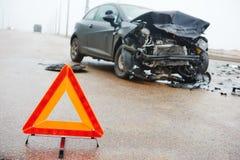 Collisione di incidente stradale in via urbana Fotografia Stock Libera da Diritti