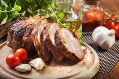Collo arrostito della carne di maiale con le spezie Fotografia Stock Libera da Diritti