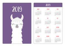 Collo capo del fronte dell'alpaga del lama, dente sorridente Layout calendario semplice della tasca 2019 nuovi anni La settimana  royalty illustrazione gratis
