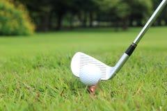 Collocando sul tee fuori in un gioco di golf Immagine Stock