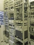 Collocation. Rack's with server's and router's in operation hall of internet collocation provider Stock Photography