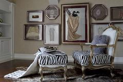 The collocation of collage and zebra. The nice sofa, carpet, frame of the indoor layout Royalty Free Stock Photos