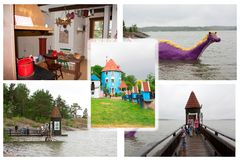 Colloge fotografie w Moominworld, Naantali, Finlandia 07 07 2015 Zdjęcia Royalty Free