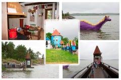 Colloge of photos in Moominworld, Naantali, Finland. 07.07.2015. Royalty Free Stock Photos