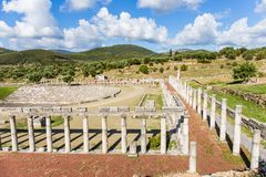 Collonade of gymnasium in Ancient Messina, Greece Royalty Free Stock Photos