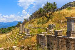 Collonade of gymnasium in Ancient Messina. Peloponnes, Greece Royalty Free Stock Images