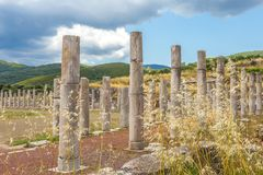 Collonade of gymnasium in Ancient Messina. Peloponnes, Greece Stock Image