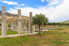 Collonade of gymnasium in Ancient Messina. Peloponnes, Greece Royalty Free Stock Image