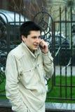 Colloquio allegro del telefono. Fotografie Stock Libere da Diritti