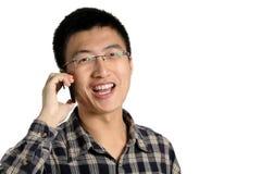 Colloquio dell'uomo sul telefono fotografia stock