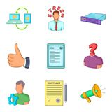 Colloquium icons set, cartoon style Stock Photos