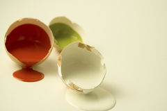 Collor eggs. Egg shell's with gloss paint Royalty Free Stock Image