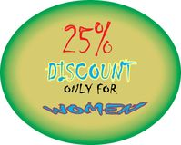 Collorfull model 25% discount ROUND MODEL only for WOMEN iscount model button icon images. Showing mad finished round shape colorful model Colorful model 25% royalty free stock photography