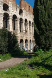 Colloseo. Sunny day in rome with the colloseom in center Royalty Free Stock Photo