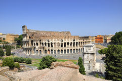 The Colloseum against blue sky Stock Photo
