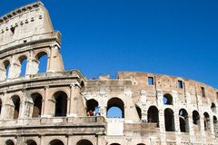 Colloseum. Ancient colloseum with blue sky Royalty Free Stock Photo