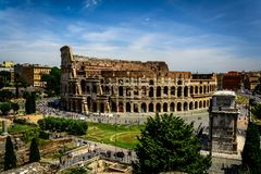 The Colloseum in Rome, Italy. A shot taken from the palentine hill of the colloseum in Rome, Italy royalty free stock photos