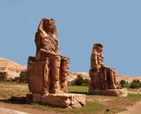 Collosi of Memnon. Stone monuments Collosi of Memnon in Egypt royalty free stock photos