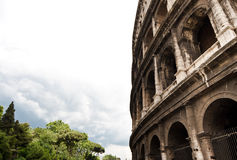 Collosseum. Detail view of the Collosseum in Rome, on the icons of the capital city of Italy Stock Image