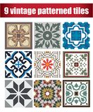 9 collrction patterned Vintage tiles. Vintage tile wall craft design patterns Stock Photos