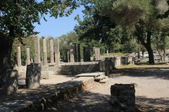 The Olympic spirit. The collums of Olympia, Greece Royalty Free Stock Photo