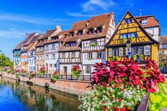 Colmar, Alsace, France. Petite Venice, water canal and traditional half timbered houses royalty free stock photography