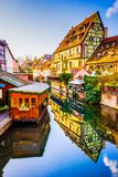 Colmar, Alsace, France - Little Venice. Colmar, Alsace, France. Gingerbread houses at Petite Venise. Christmas decoration of local craftsmen, famous in Europe royalty free stock images