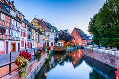 Colmar, France. Colmar, Alsace, France. Petit Venice, water canal and traditional half timbered houses Stock Photos